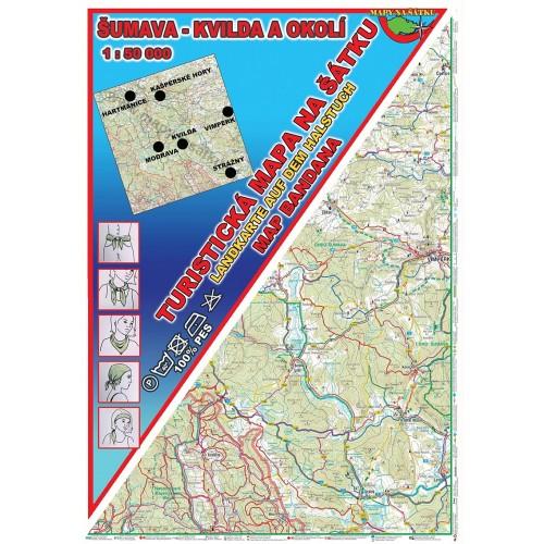 ŠUMAVA-KVILDA A OKOLÍ (MAPA NA ŠÁTKU)