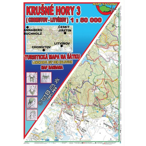 KRUŠNÉ HORY 3-CHOMUTOV, LITVÍNOV (MAPA NA ŠÁTKU)