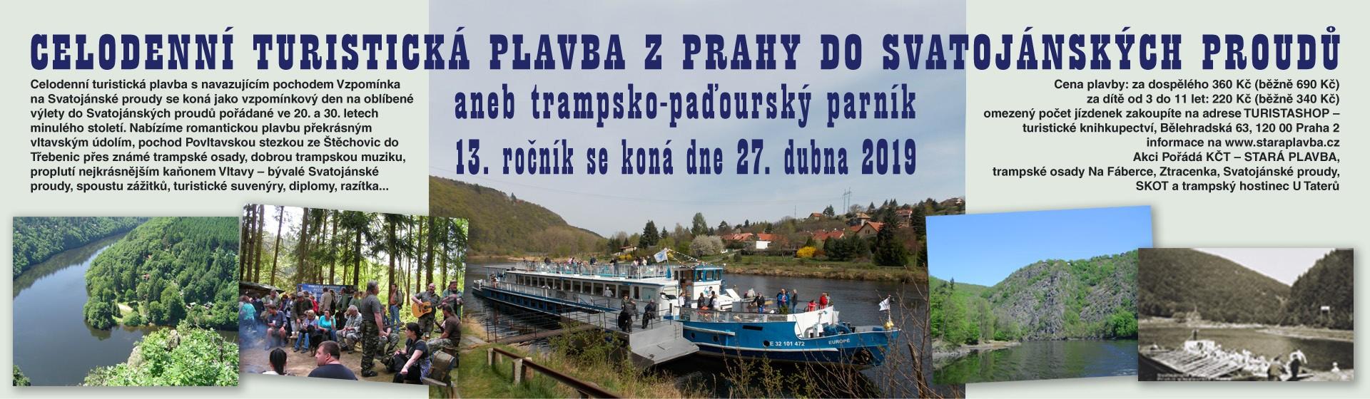 Turistická plavba Z Prahy do Svatojánských proudů aneb trampsko-paďourský parník 27. 4. 2019 - 13. ročník