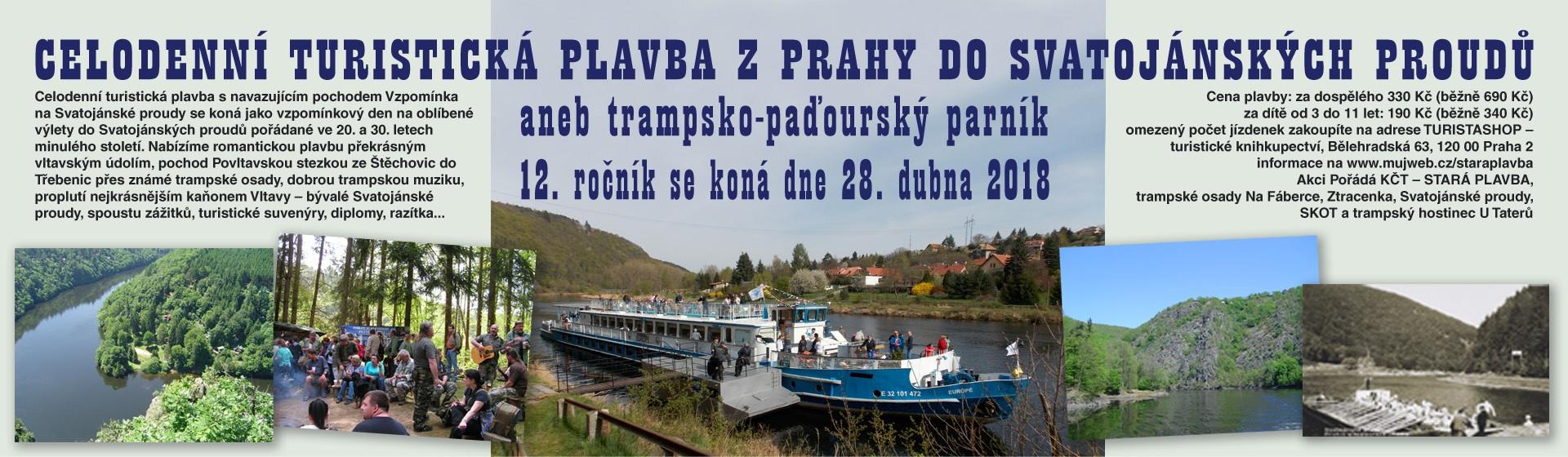 Turistická plavba Z Prahy do Svatojánských proudů aneb trampsko-paďourský parník 28. 4. 2018 - 12. ročník